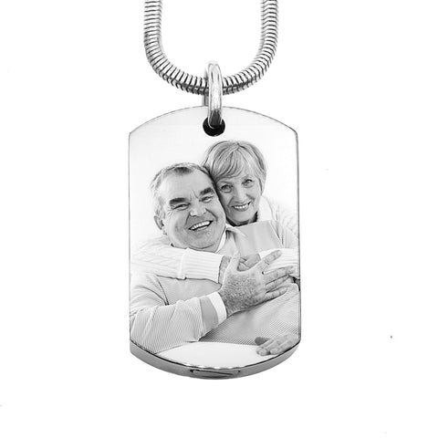 Personalised Memory Photo Tag Canister Necklace-Silver- BELLE FEVER Personalised Jewellery