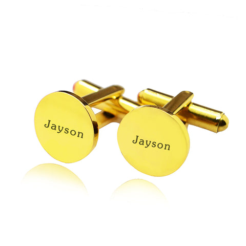 Personalised Round Cufflink-Gold- BELLE FEVER Personalised Jewellery