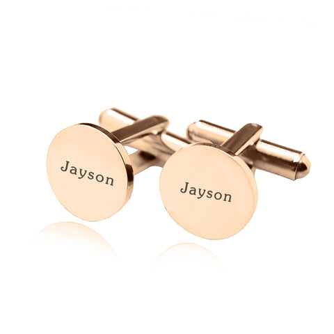 Personalised Round Cufflink-Rose Gold- BELLE FEVER Personalised Jewellery