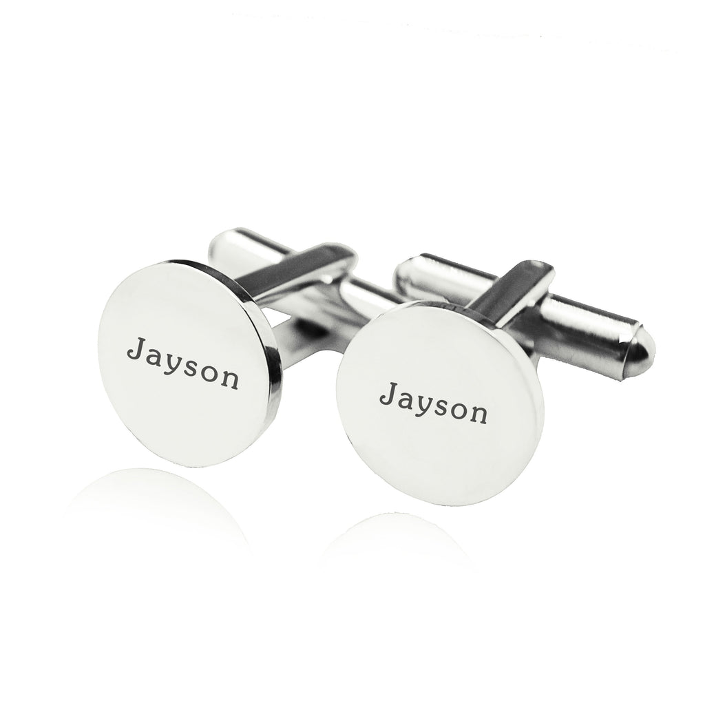 Personalised Round Cufflink-Silver- BELLE FEVER Personalised Jewellery