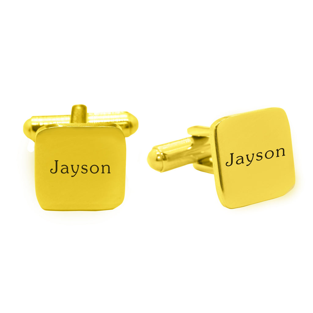 Personalised Square Cufflink-Gold- BELLE FEVER Personalised Jewellery