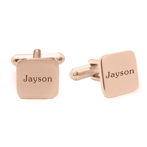 Personalised Square Cufflink-Rose Gold- BELLE FEVER Personalised Jewellery