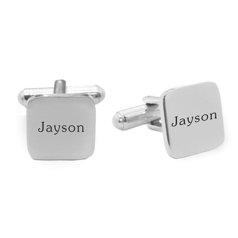 Personalised Square Cufflink-Silver- BELLE FEVER Personalised Jewellery