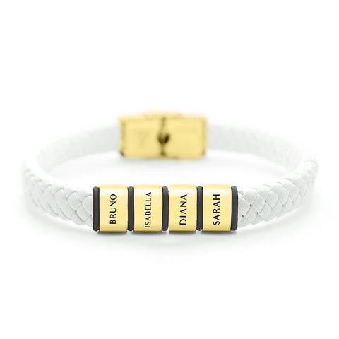 Personalised White Leather Bracelet-Gold- BELLE FEVER Personalised Jewellery
