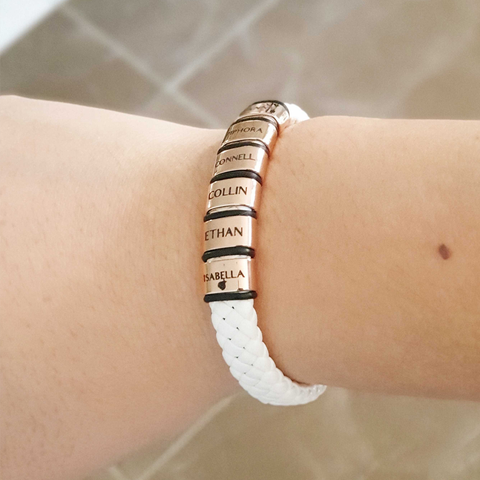 Personalised White Leather Bracelet-Rose Gold- BELLE FEVER Personalised Jewellery