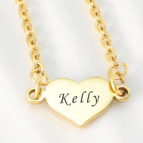 Precious Heart Name Necklace-Silver- BELLE FEVER Personalised Jewellery