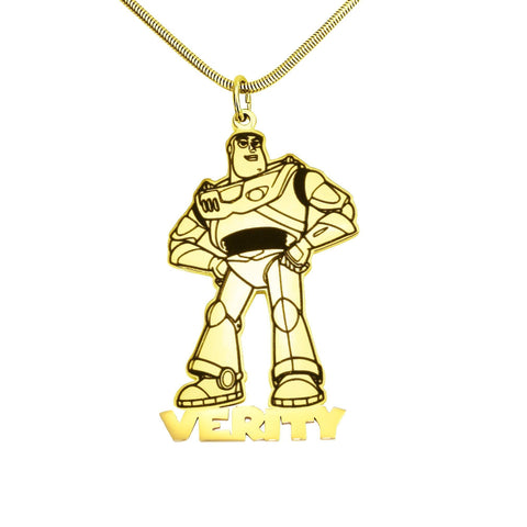 Robot Name Necklace-Gold- BELLE FEVER Personalised Jewellery