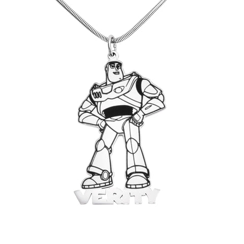 Robot Name Necklace-Silver- BELLE FEVER Personalised Jewellery