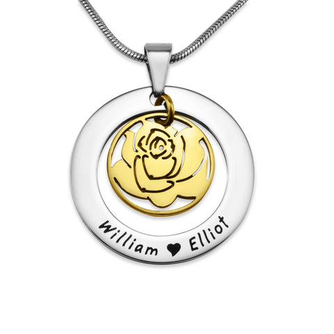 Rose Family Necklace-Two Tone Gold- BELLE FEVER Personalised Jewellery