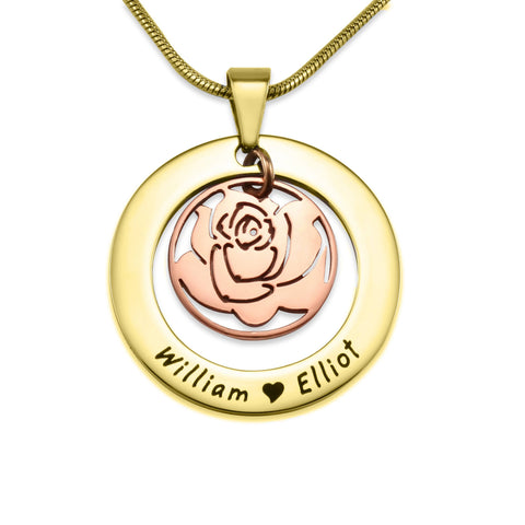 Rose Family Necklace-Two Tone Gold & Rose Gold- BELLE FEVER Personalised Jewellery
