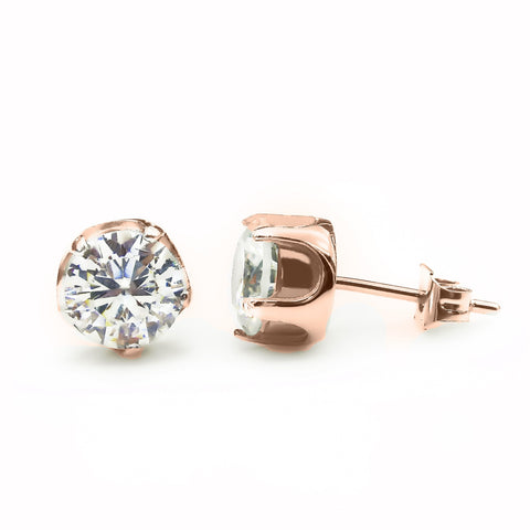 Round Studded Earrings-Rose Gold-Diamond- BELLE FEVER Personalised Jewellery