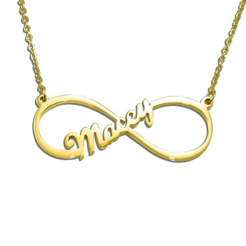 Single Infinity Name Necklace (Birthstone Optional)-Gold- BELLE FEVER Personalised Jewellery