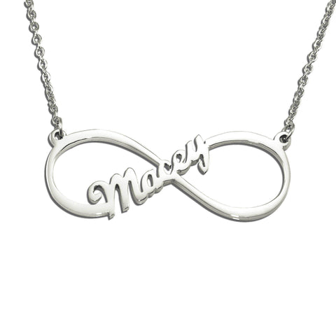 Single Infinity Name Necklace (Birthstone Optional)-Silver- BELLE FEVER Personalised Jewellery