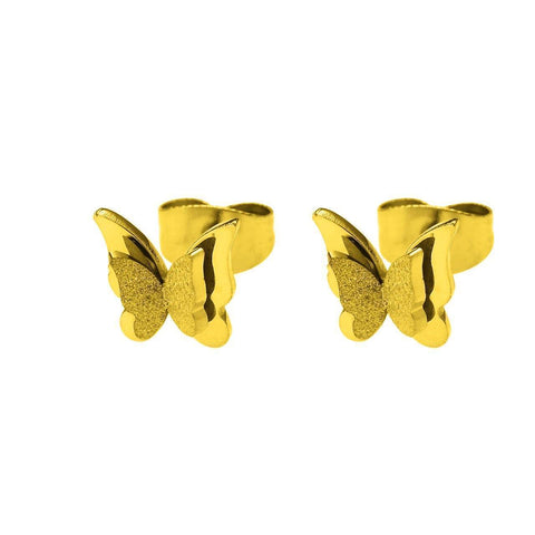 Sparkling Butterfly Stud Earrings-Gold- BELLE FEVER Personalised Jewellery