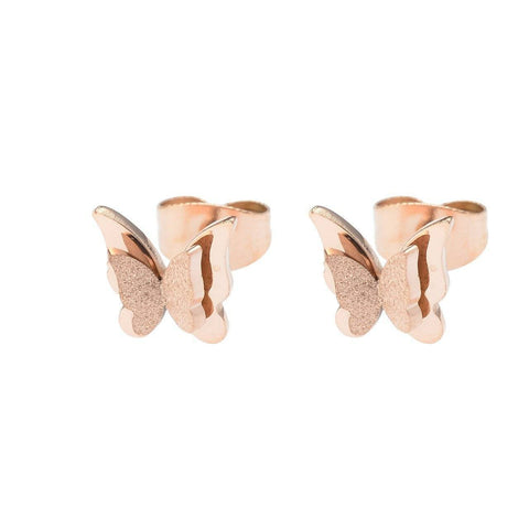 Sparkling Butterfly Stud Earrings-Rose Gold- BELLE FEVER Personalised Jewellery