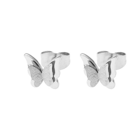 Sparkling Butterfly Stud Earrings-Silver- BELLE FEVER Personalised Jewellery