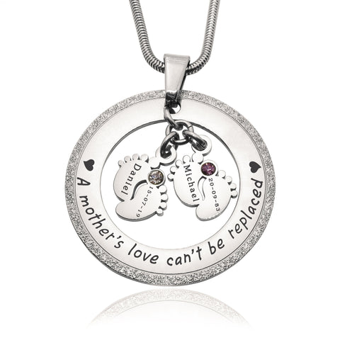 Sparkling Cant Be Replaced Birthstones Necklace - Double Feet-Silver- BELLE FEVER Personalised Jewellery