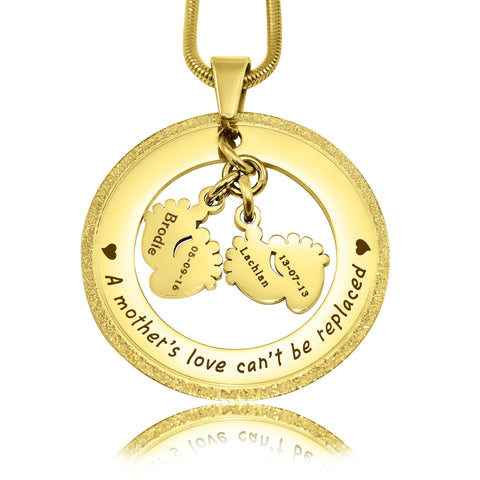 Sparkling Cant Be Replaced Necklace - Double Feet-Gold- BELLE FEVER Personalised Jewellery