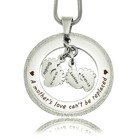 Sparkling Cant Be Replaced Necklace - Double Feet-Silver- BELLE FEVER Personalised Jewellery