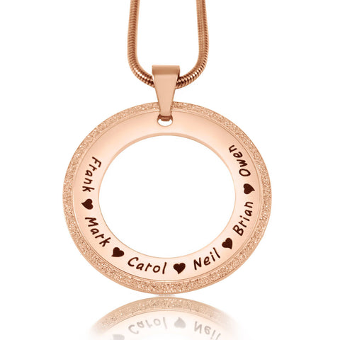 Sparkling Circle of Trust Necklace-Rose Gold- BELLE FEVER Personalised Jewellery