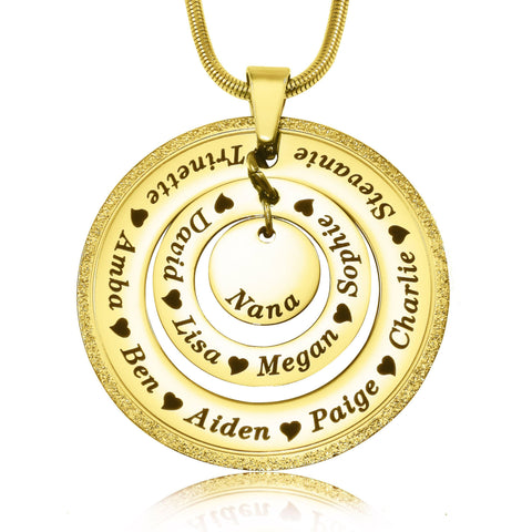 Sparkling Circles of Loved Ones Personalised Necklace-Gold- BELLE FEVER Personalised Jewellery