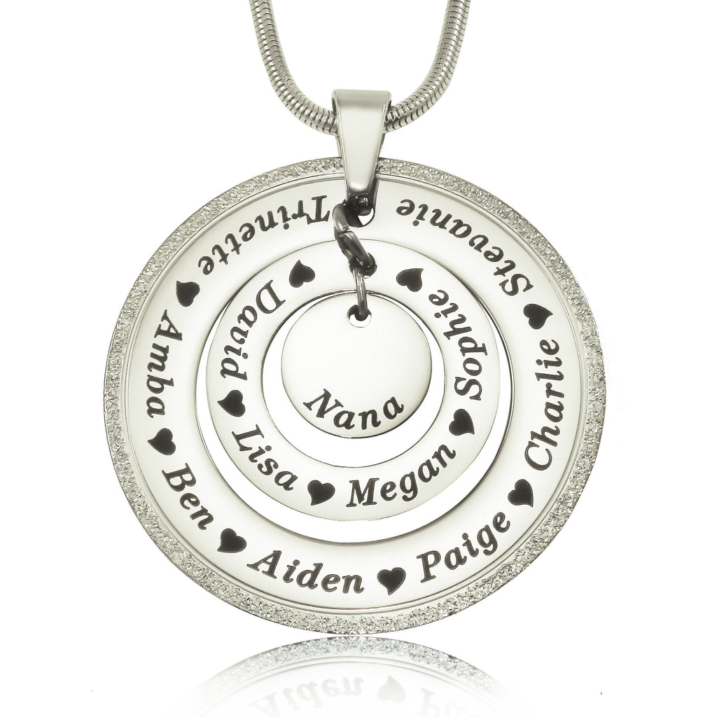 Sparkling Circles of Loved Ones Personalised Necklace-Silver- BELLE FEVER Personalised Jewellery