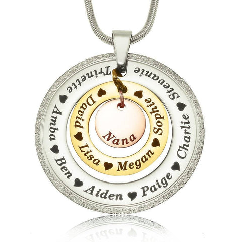 Sparkling Circles of Loved Ones Personalised Necklace-Three Tone- BELLE FEVER Personalised Jewellery
