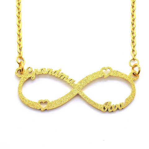 Sparkling Classic Infinity Name Necklace (Birthstones Optional)-Gold- BELLE FEVER Personalised Jewellery