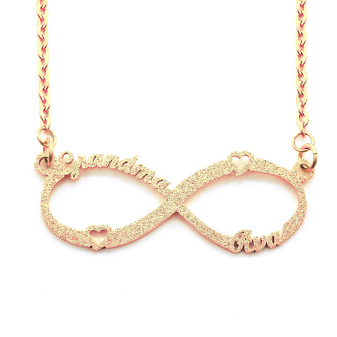 Sparkling Classic Infinity Name Necklace (Birthstones Optional)-Rose Gold- BELLE FEVER Personalised Jewellery