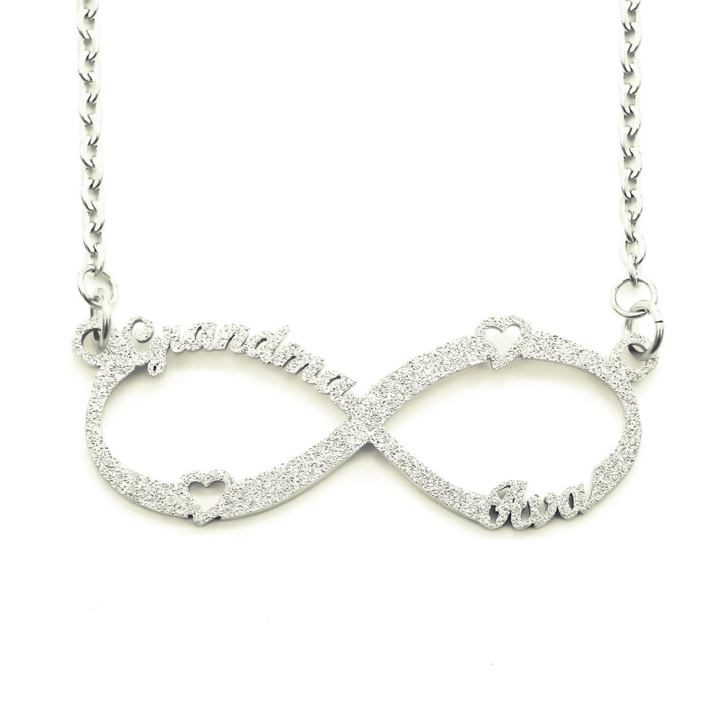 Sparkling Classic Infinity Name Necklace (Birthstones Optional)-Silver- BELLE FEVER Personalised Jewellery