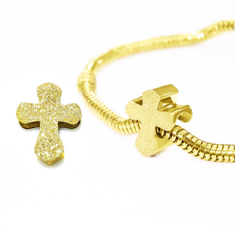 Sparkling Cross Charm for Moments Bracelet-Gold- BELLE FEVER Personalised Jewellery
