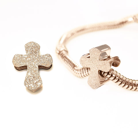 Sparkling Cross Charm for Moments Bracelet-Rose Gold- BELLE FEVER Personalised Jewellery