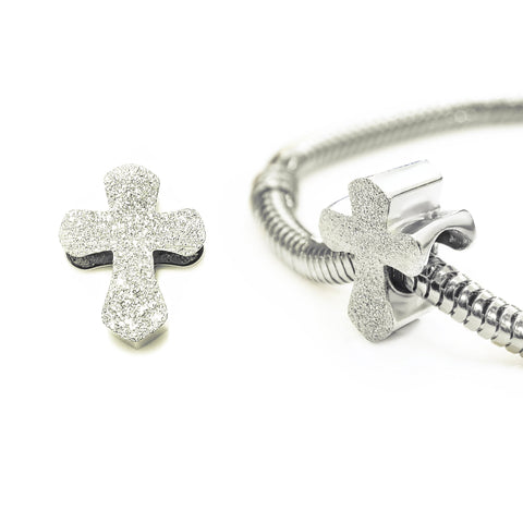 Sparkling Cross Charm for Moments Bracelet-Silver- BELLE FEVER Personalised Jewellery