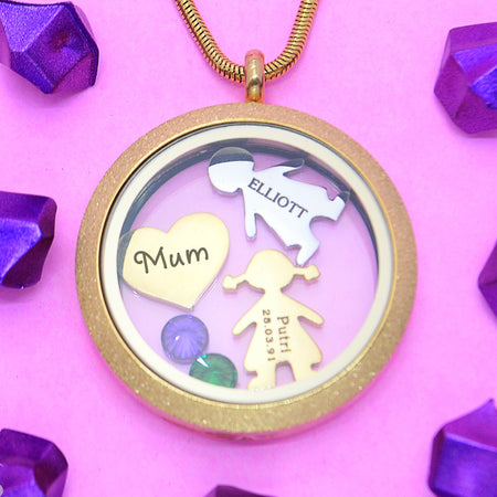 Sparkling Dream Locket Necklace-Medium 30mm-Silver- BELLE FEVER Personalised Jewellery