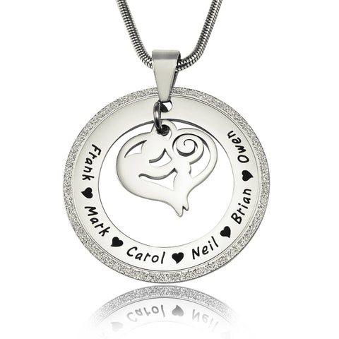 Sparkling Mothers Love Necklace-Silver- BELLE FEVER Personalised Jewellery