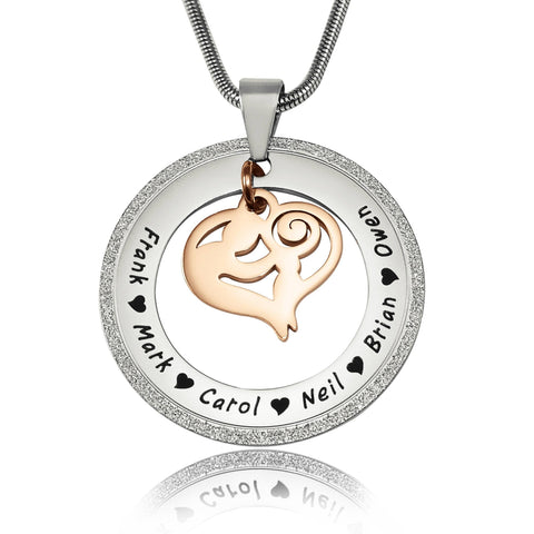 Sparkling Mothers Love Necklace-Two Tone Rose Gold- BELLE FEVER Personalised Jewellery