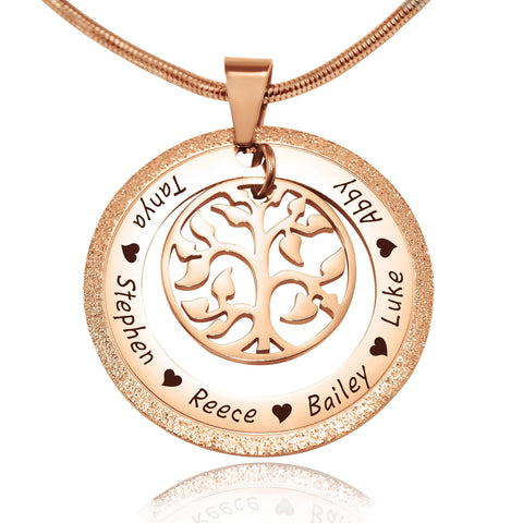 Sparkling My Family Tree Necklace-Rose Gold- BELLE FEVER Personalised Jewellery