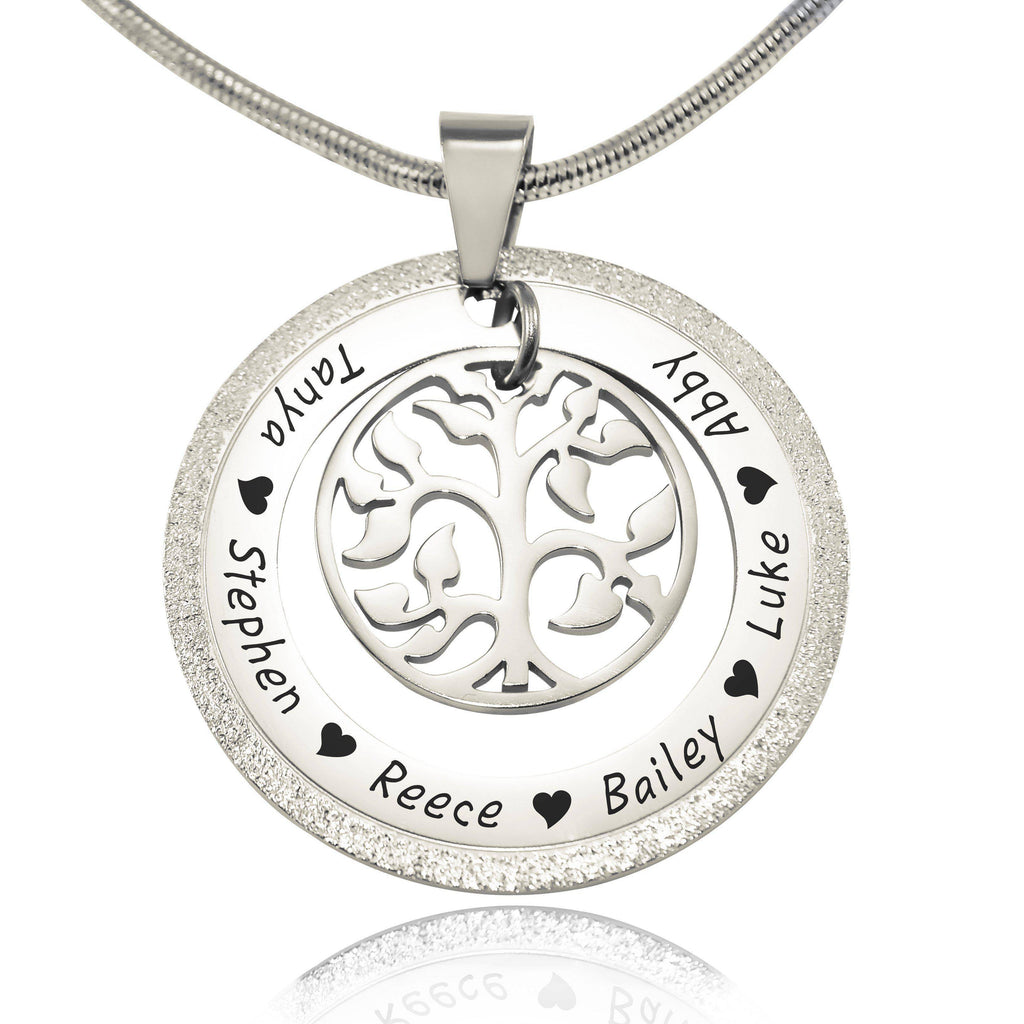 Sparkling My Family Tree Necklace-Silver- BELLE FEVER Personalised Jewellery