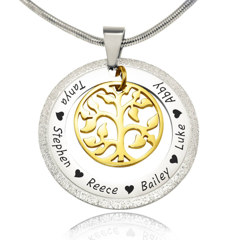 Sparkling My Family Tree Necklace-Two Tone Gold- BELLE FEVER Personalised Jewellery