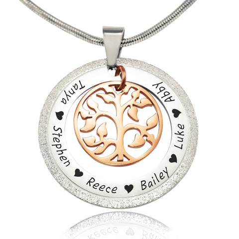 Sparkling My Family Tree Necklace-Two Tone Rose Gold- BELLE FEVER Personalised Jewellery