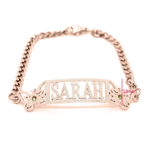 Sparkling Name Bracelet (Birthstones Optional)-Silver- BELLE FEVER Personalised Jewellery