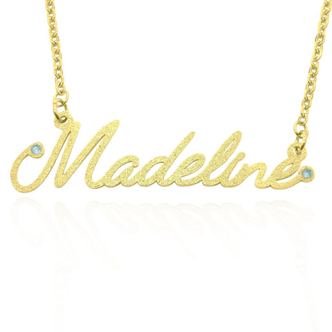 Sparkling Name Necklace (Madeline Font Birthstones Optional)-Gold- BELLE FEVER Personalised Jewellery