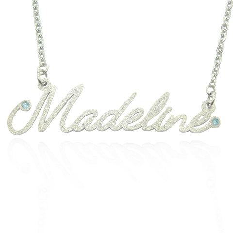 Sparkling Name Necklace (Madeline Font Birthstones Optional)-Silver- BELLE FEVER Personalised Jewellery