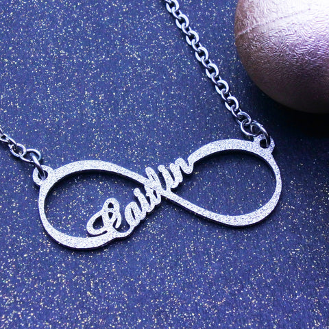 Sparkling Single Infinity Name Necklace (Birthstone Optional)-Silver- BELLE FEVER Personalised Jewellery