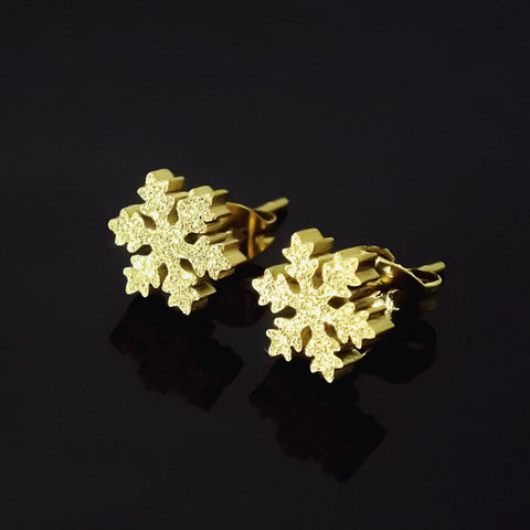 Sparkling Snowflake Earrings-Gold- BELLE FEVER Personalised Jewellery