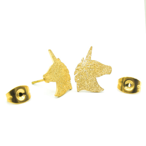 Sparkling Unicorn Earrings-Gold- BELLE FEVER Personalised Jewellery