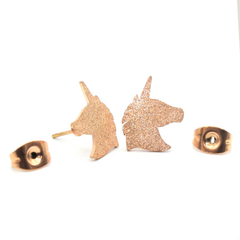 Sparkling Unicorn Earrings-Rose Gold- BELLE FEVER Personalised Jewellery
