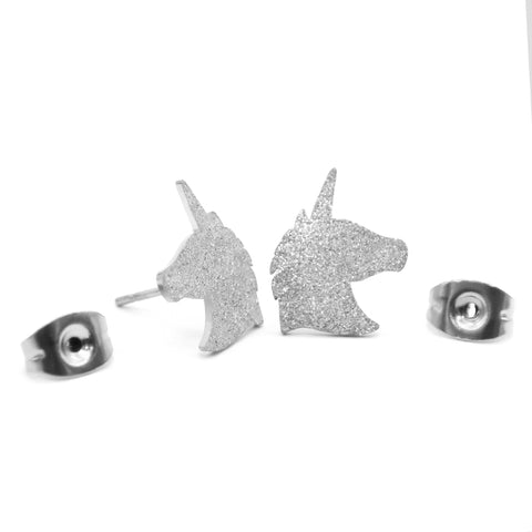 Sparkling Unicorn Earrings-Silver- BELLE FEVER Personalised Jewellery