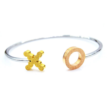Sparkling XO Three Tone Bangle- BELLE FEVER Personalised Jewellery