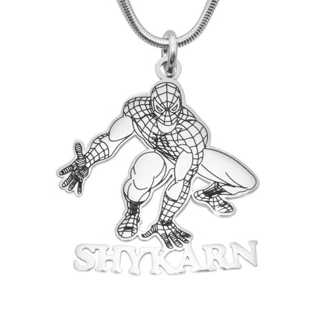 Spiderman Name Necklace-Silver- BELLE FEVER Personalised Jewellery